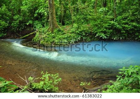 Blue river in Costa Rica