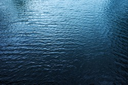 Blue river water surface, aerial view from the bridge