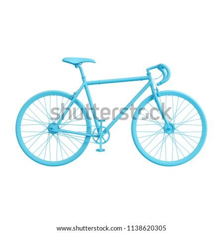 Blue road bicycle isolated on white background. Trendy fashion style. Minimal design art. 3d illustration.