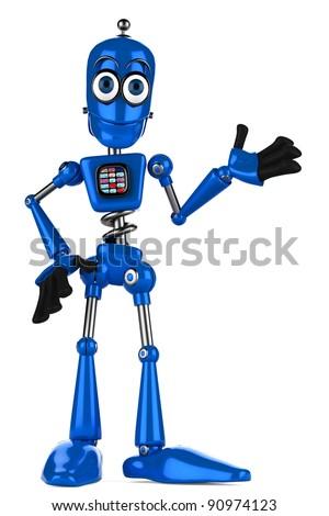 blue robot explaining
