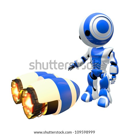 Blue robot inspecting rocket engines for possible use.