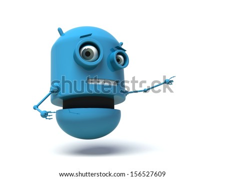 Blue robot pointing his finger at something. 3d render. Isolated on white background.