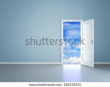 blue room with an open door in sky