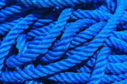 Blue rope polypropylene texture background