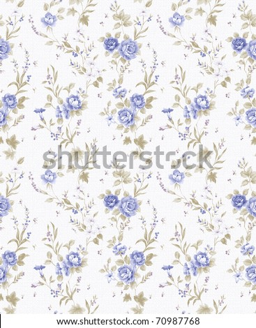 blue Rose bouquet design Seamless pattern with White  background