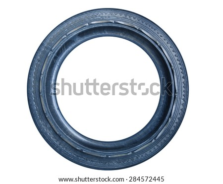 Blue round picture frame