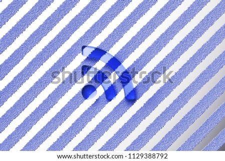 Blue Rss Feed Icon on the Gray Stripes Fur Background. 3D Illustration of Blue Blog, Feed, News, Rss Icon Set With Striped Gray Pattern.