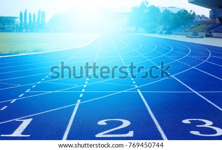 Blue Running track  #769450744