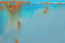 Blue rusted metal background. Closeup rusty metal texture background