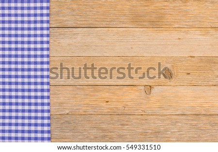 Blue Rustic Tablecloth On Wooden Table Background, Top View, Copy Space.  #549331510