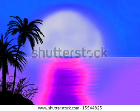 blue 70s style miami sunset sunrise with tree silhouette illustration