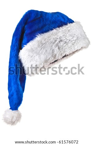 Blue Santa Claus Hat. Isolated on white.