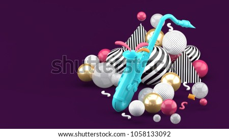 Blue saxophone surrounded by golden balls on a purple background.-3d render.