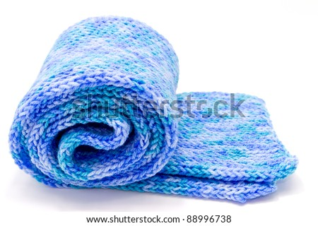 blue scarf roll on white background - stock photo