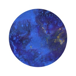 Blue scenic circle. Fluid art. Round shape, painted frame. Abstract hand-drawn acrylic painting. Image for an inscription, invitation, poster, creative design.