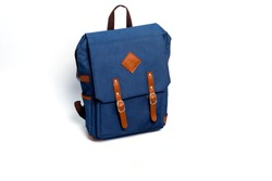 Blue school backpack isolated on white background