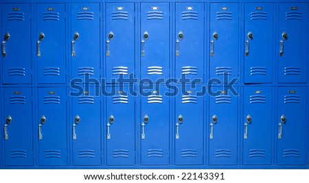 Blue school lockers