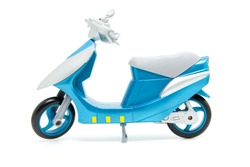 blue scooter motorcycle isolated on white background