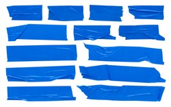 Blue scotch tape, large set of adhesive packaging tape, crumpled torn stripes on white background