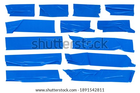 Blue scotch tape, large set of adhesive packaging tape, crumpled torn stripes on white background Foto stock ©