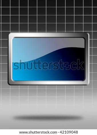 Blue screen with chrome frame over gray background