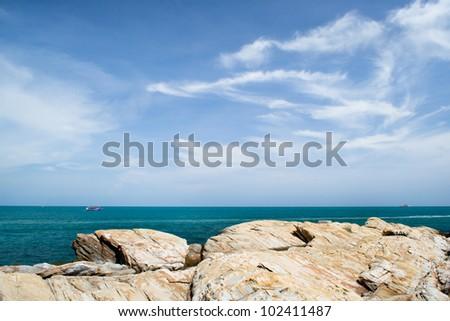 blue sea and blue sky - stock photo