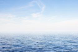Blue sea and blue sky background.