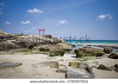 Blue sea and red torii of Shirahama coast in Shimoda, Izu Zdjęcia stock ©