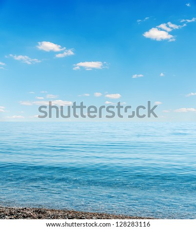 blue sea and sky over it