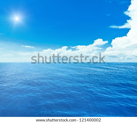 Blue sea and sky. Sea summer shot