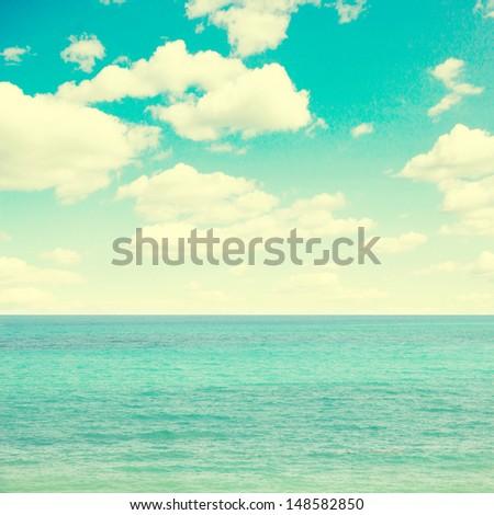 blue sea and sky  vintage retro ...