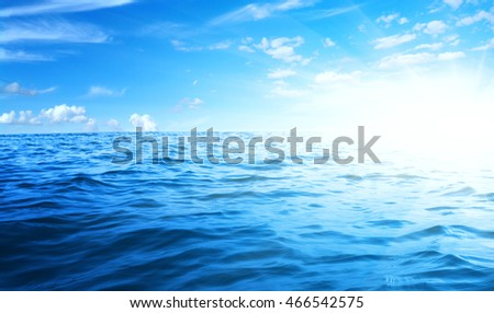 Blue sea and sun on sky #466542575