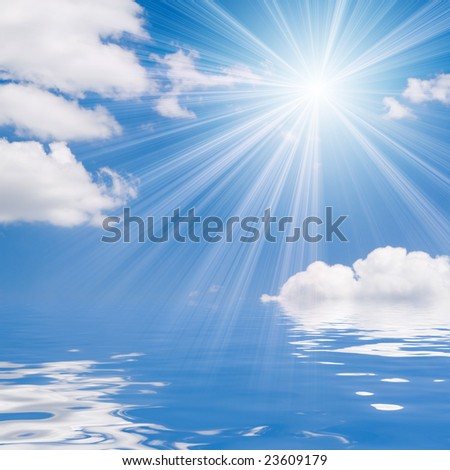 blue sea and sunny sky background