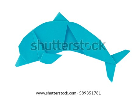 Blue sea dolphin of origami. Isolated on white background #589351781