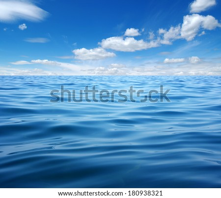 Blue sea water surface on sky #180938321