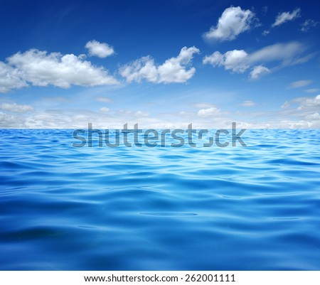 Blue sea water surface on sky #262001111