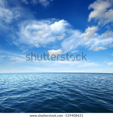 Blue sea water surface on sky #529408621