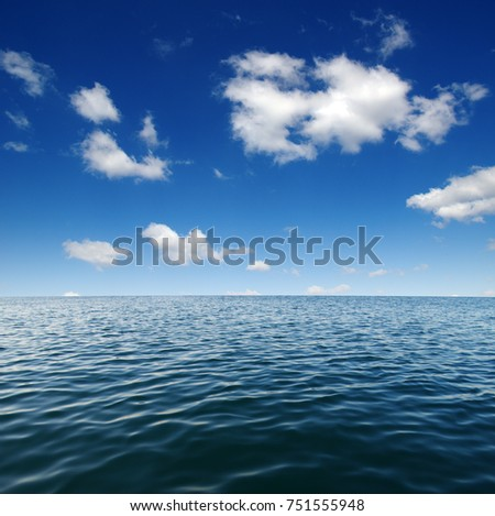 Blue sea water surface on sky #751555948
