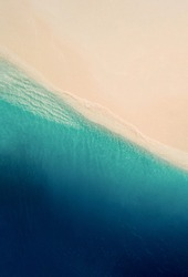 Blue sea wave, white foam, golden sand beach, turquoise ocean water close up, summer holidays border frame concept, tropical island vacation backdrop, tourist travel banner design template, copy space