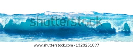 Photo of  Blue sea wave with white foam isolated on white background.