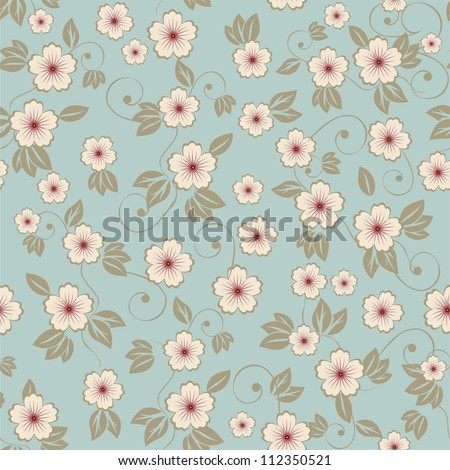 blue seamless floral pattern - stock photo