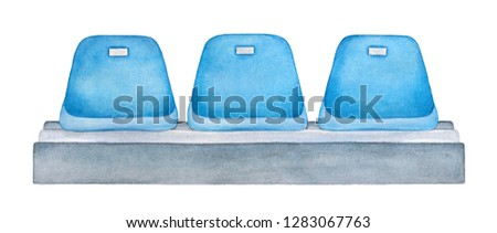 Blue seats at stadium or open doors arena. Sport, entertainment, competition, show, public event furniture. Hand painted watercolour drawing on white, cutout clip art element for design decoration.