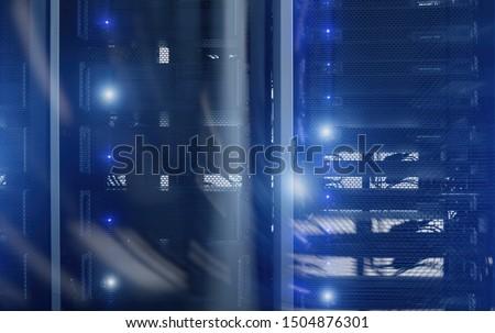 Blue server rack. Double Exposure Technology Concept. #1504876301