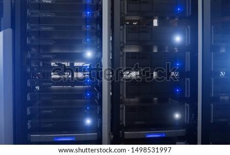 Blue server rack. Technology Concept supercomputer data #1498531997