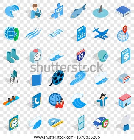 Blue set icons set. Isometric style of 36 blue set icons for web for any design