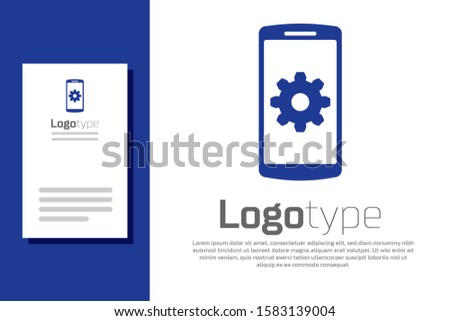Blue Setting on smartphone icon isolated on white background. Mobile phone and gear. Adjusting, service, setting, maintenance, repair, fixing. Logo design template element.  ストックフォト ©