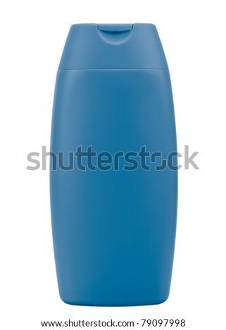 Blue shampoo bottle. Isolated on white background