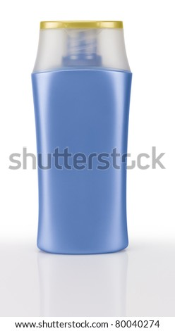 Blue shampoo bottle. Isolated on white background