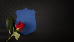 Blue shield with a red rose draped across it. National Law Enforcement Officers Memorial Fund symbol.