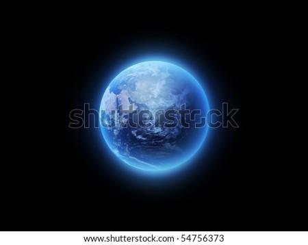 blue shining world on a dark background